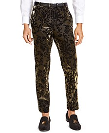 I.N.C. Men's Slim-Fit Flocked Metallic Pants, Created For Macy's