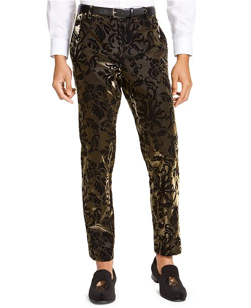 INC International Concepts INC Men's Slim-Fit Flocked Metallic Pants, Created For Macy's