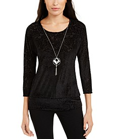 Petite Banded-Hem Top With Necklace