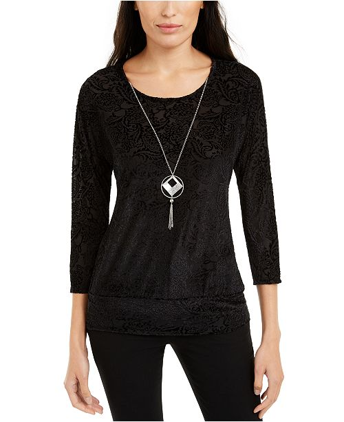 NY Collection Petite Banded-Hem Top With Necklace
