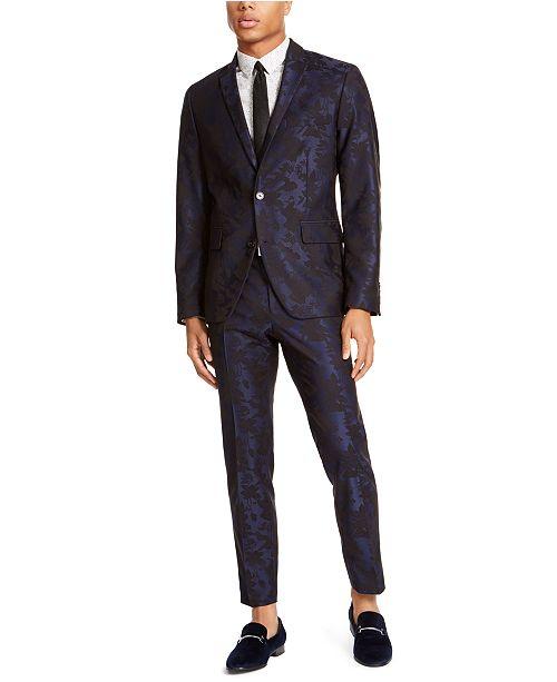INC International Concepts I.N.C. Men's Big & Tall Stretch Jacquard Floral Blazer, Created For Macy's