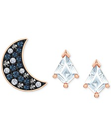 Rose Gold-Tone 3-Pc. Set Crystal Celestial Mismatched Stud Earrings