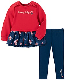 Baby Girls 2-Pc. Floral-Print Peplum Tunic & Leggings Set