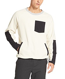 Men's Mix-Media Colorblocked Fleece Sweater