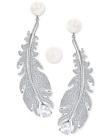 Silver-Tone Imitation Pearl & Crystal Feather Earring Jackets