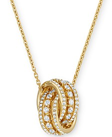 "Gold-Tone Crystal Interlocking Loop Pendant Necklace, 16-1/2"" + 2"" extender"