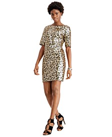 Leopard Sequin Sheath Dress