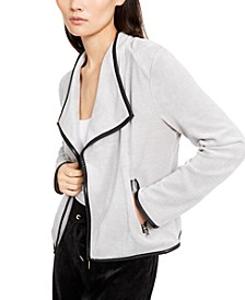 Faux-Leather-Trim Flyaway Jacket