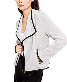 Faux-Leather-Trim Flyaway Jacket