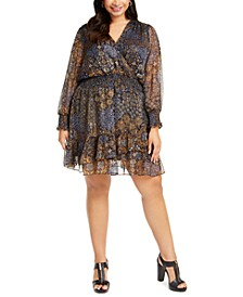 Plus Size Patchwork Printed Dress