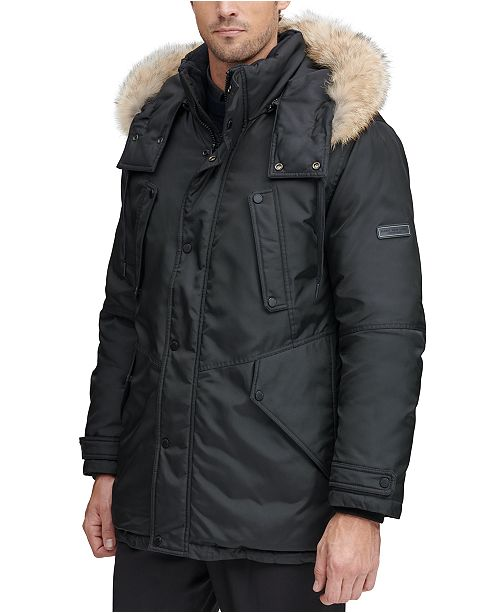 Marc New York Men's Lafayette Four Pocket Parka with Removable Fur Trimmed Hood