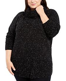 Plus Size Space-Dye Cowlneck Sweater