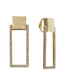 Gold Tone Linear Clip Earrings
