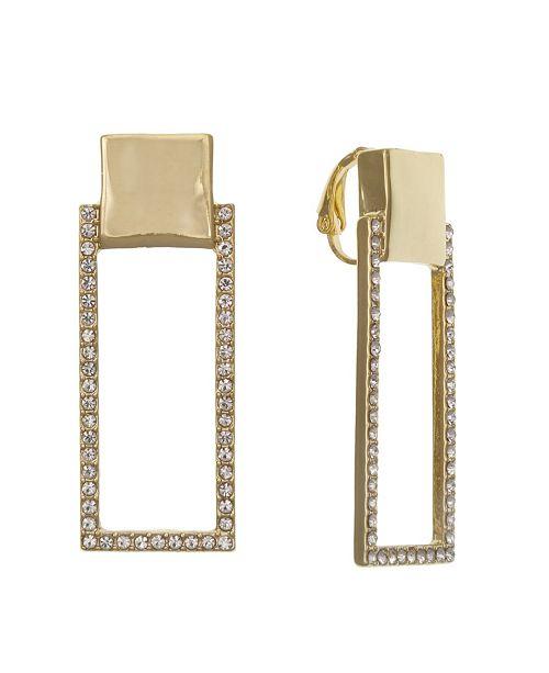 Christian Siriano Gold Tone Linear Clip Earrings