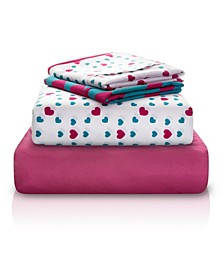 Heart Print Double-Brushed Microfiber 4 Piece Full Sheet Set