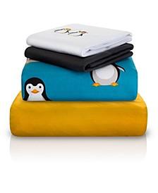 Penguin Double-Brushed Microfiber 4 Piece Full Sheet Set