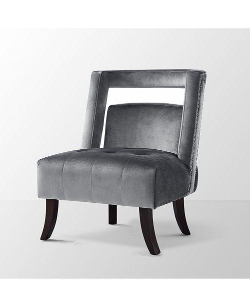 INSPIRED HOME Salvador Velvet Button Tufted Slipper Accent Chair