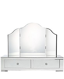 Amaris Mirrored Makeup Vanity with Tri-Fold Mirror and Stool Set