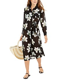 Villa Floral-Print Shirtdress Cover-Up
