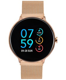 Women's Rose Gold-Tone Stainless Steel Mesh Bracelet Touchscreen Sport Smart Watch 43.2mm