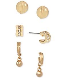 Gold-Tone 3-Pc. Set Pavé Earrings