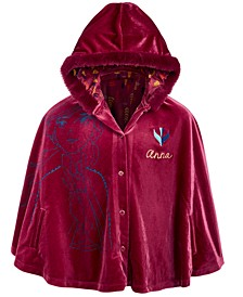 Disney® Little Girls Hooded Faux-Fur-Trim Anna Cape