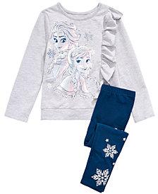 Disney® Little Girls 2-Pc. Elsa & Anna Top & Snowflake-Print Leggings Set
