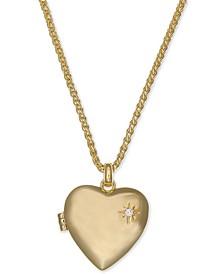 "Gold-Tone Pavé Heart Locket Pendant Necklace, 18"" + 2"" extender"