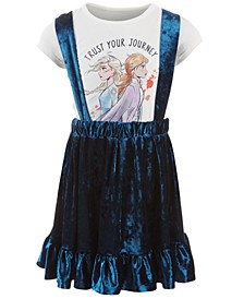 Little Girls 2-Pc. Trust Your Journey T-Shirt & Velvet Skirtall Set