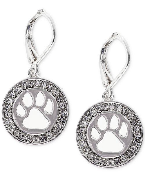 Pet Friends Jewelry Silver-Tone Pavé Paw-Cutout Drop Earrings