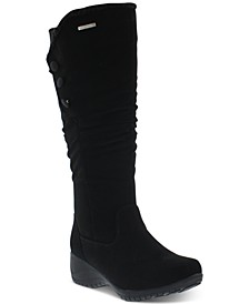 Khmobu Women's Rose Button-Trim Boots
