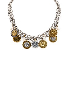 """Two-Tone World Coin & Freshwater Pearl (9mm) 18"""" Double-Row Statement Necklace"""