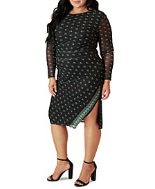 Plus Size Ruched Side-Slit Dress