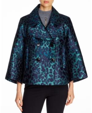 Elie Tahari Edna Printed 3/4-Sleeve Jacket In Green Multi Leopard