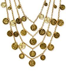 "Gold-Tone World Coin Multi-Strand 32"" Statement Necklace"
