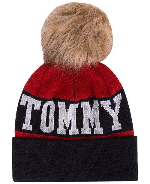Tommy Hilfiger Logo Beanie with Faux Fur Pom