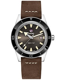 Men's Swiss Automatic Captain Cook Traditional Brown Leather Strap Diver Watch 42mm