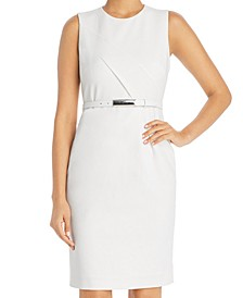 Azra Belted Diagonal-Seamed Dress