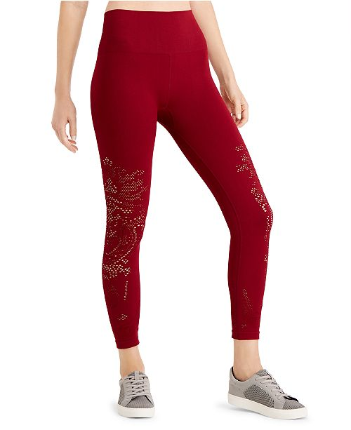 Ideology Seamless Perforated High-Rise Leggings, Created for Macy's