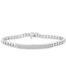 Diamond Pavé Plate Curb Link Bracelet (1/2 ct. t.w.) in Sterling Silver