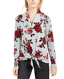 Juniors' Floral-Print Cowlneck Sweater