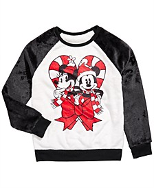 Big Girls Mickey & Minnie Mouse Candy Cane Sweatshirt