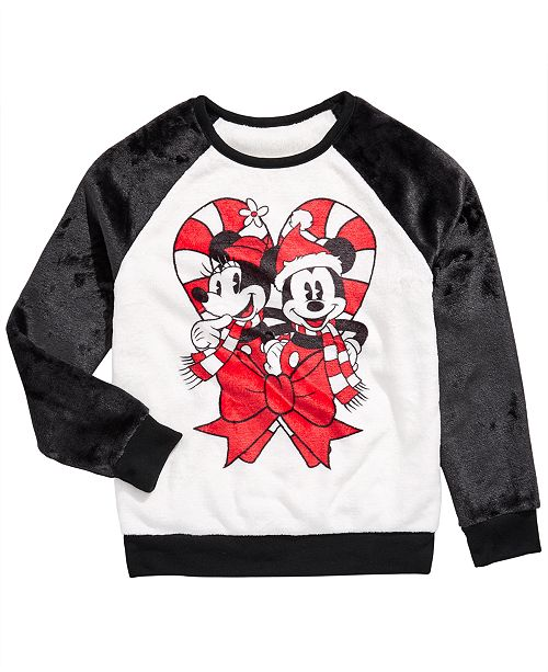Evy of California Disney Big Girls Mickey & Minnie Mouse Candy Cane Sweatshirt
