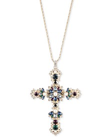 """Gold-Tone Crystal, Stone & Imitation Pearl Cross Pendant Necklace, 16"""" + 3"""" extender"""
