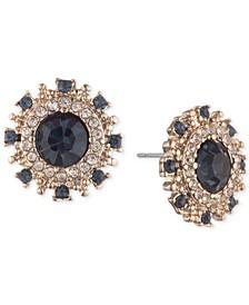 Gold-Tone Pavé & Stone Button Earrings