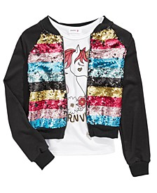 Big Girls 2-Pc. Flip Sequin Bomber Jacket & Unicorn-Print Tank Top Set