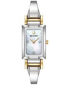 Women's Classic Diamond Accent Two-Tone Stainless Steel Bangle Bracelet Watch 28x33mm