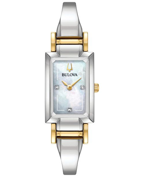 Bulova Women's Classic Diamond Accent Two-Tone Stainless Steel Bangle Bracelet Watch 28x33mm