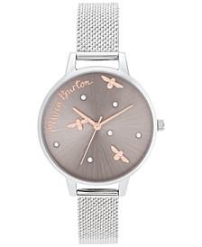 Women's Pearly Queen Stainless Steel Mesh Bracelet Watch 34mm