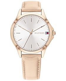Women's Champagne Leather Strap Watch 36mm, Created for Macy's